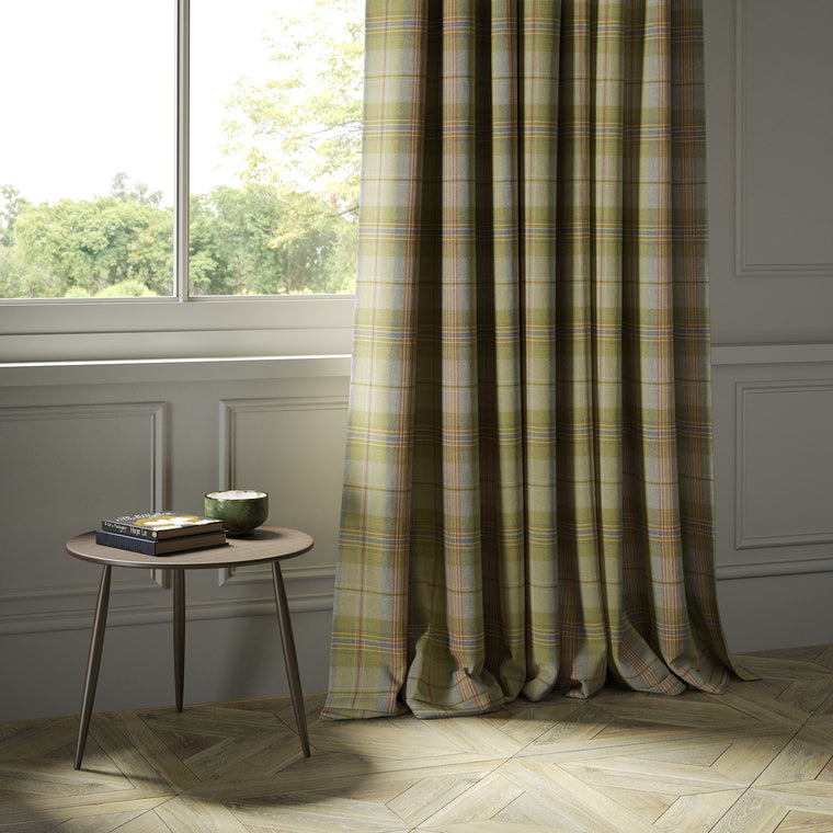 Curtains in a green and red Scottish wool plaid check fabric