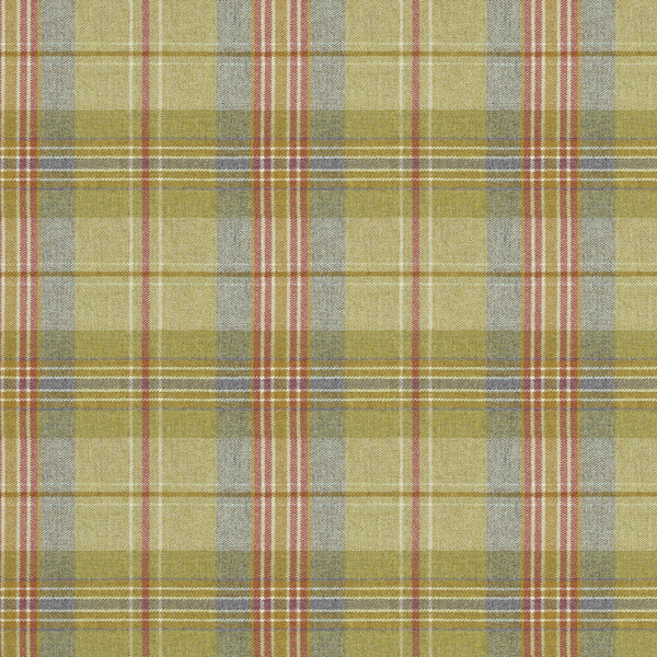 Fabric swatch of a green and red Scottish wool plaid check fabric for curtains and upholstery
