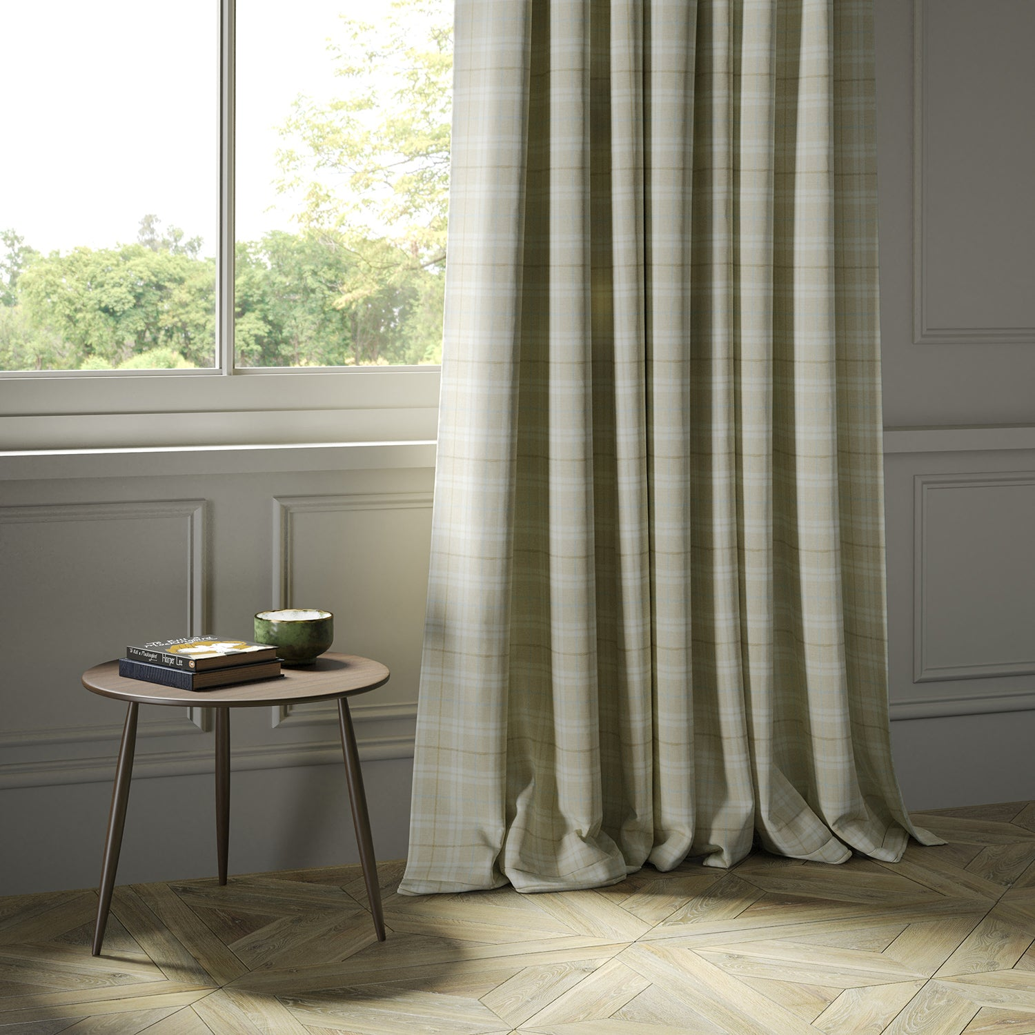 Curtains in a cream Scottish wool plaid check fabric