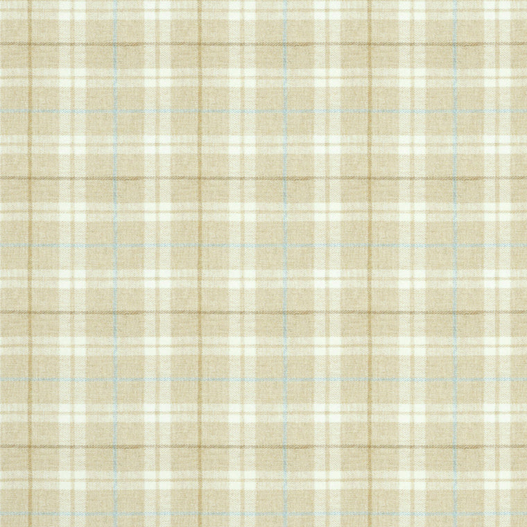 Fabric swatch of a cream Scottish wool plaid check fabric for curtains and upholstery