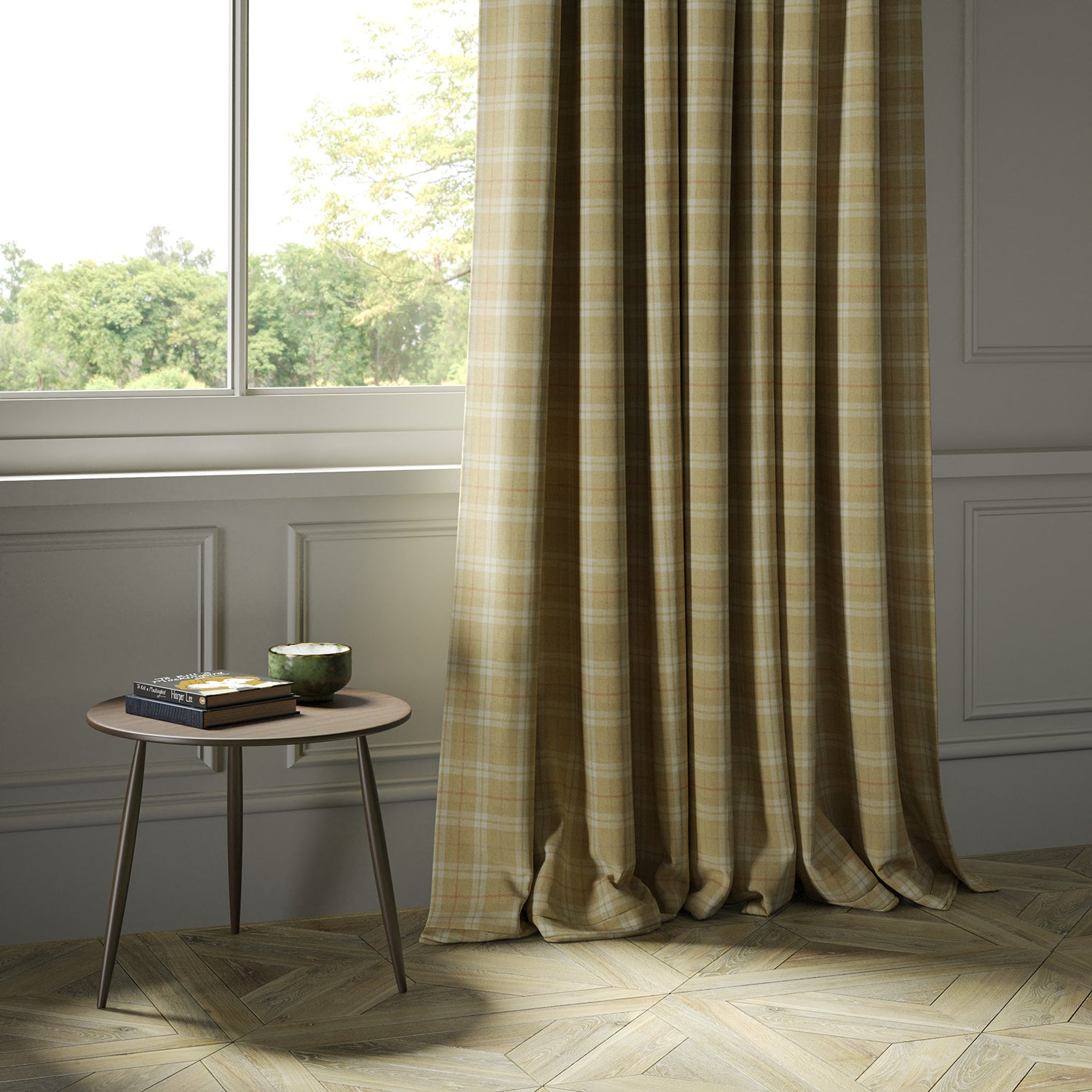 Curtains in a beige Scottish wool plaid check fabric