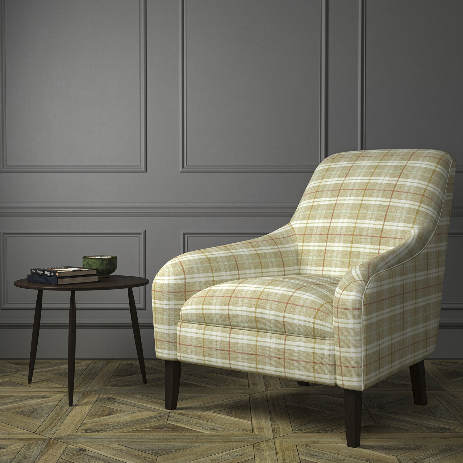 Chair upholstered in a cream Scottish wool plaid check fabric