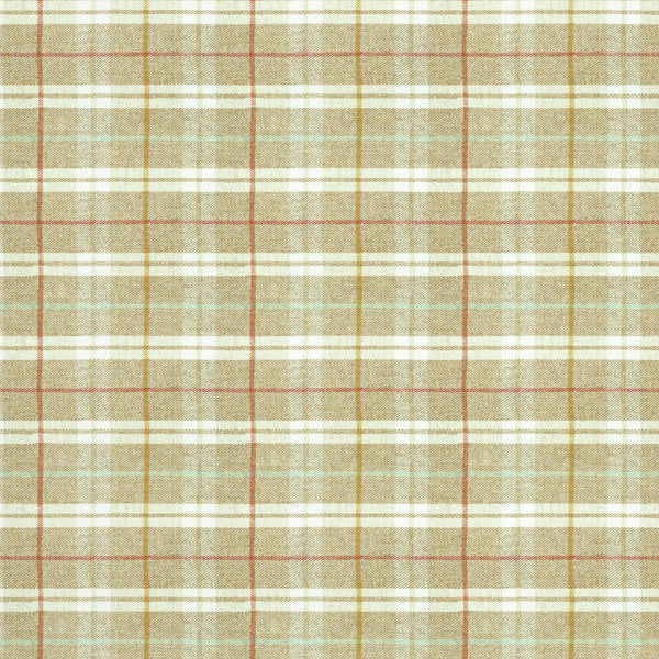 Fabric swatch of a beige Scottish wool plaid check fabric for curtains and upholstery
