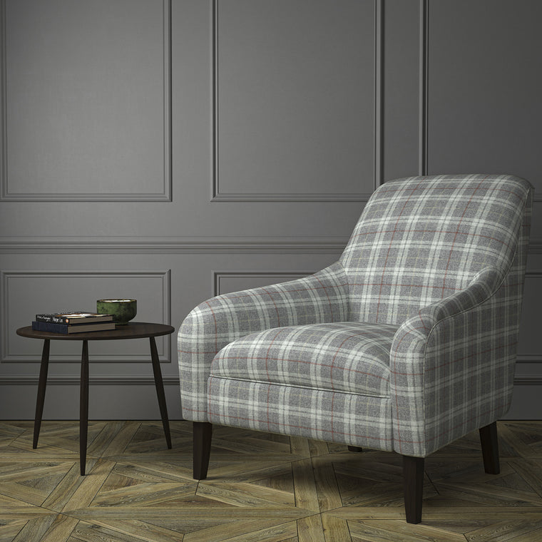 Chair upholstered in a grey Scottish wool plaid check fabric