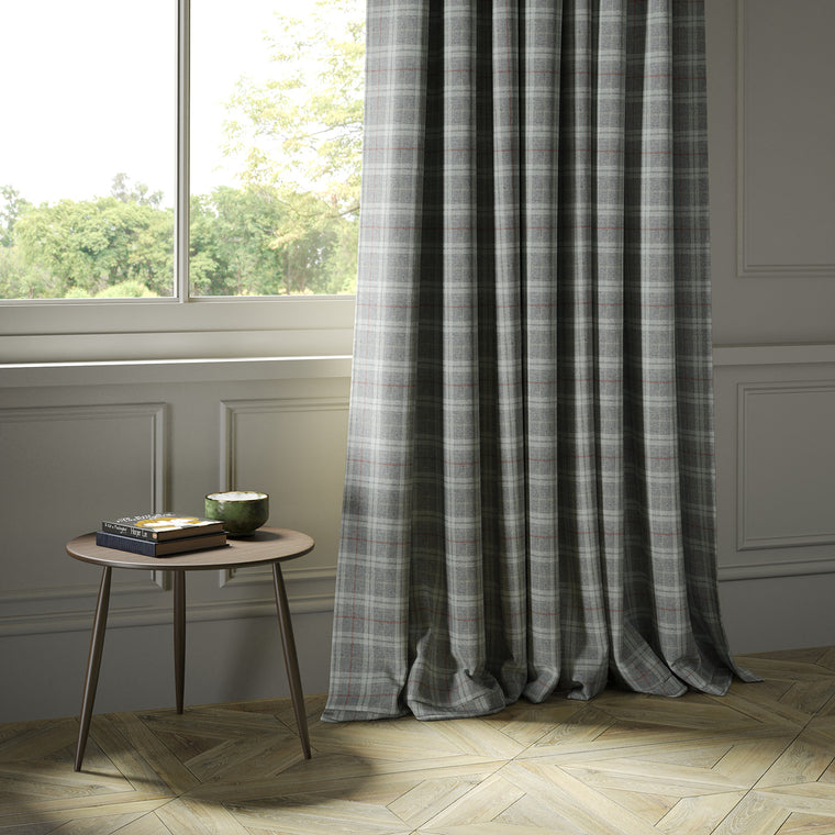 Curtains in a grey Scottish wool plaid check fabric