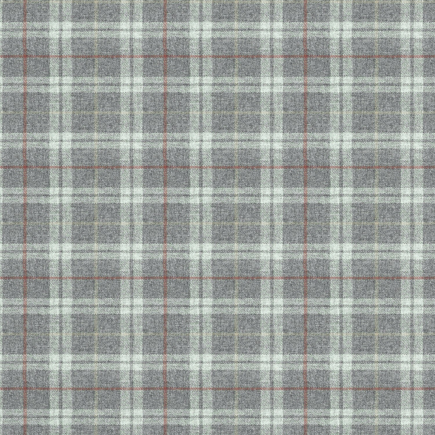 Fabric swatch of a grey Scottish wool plaid check fabric for curtains and upholstery