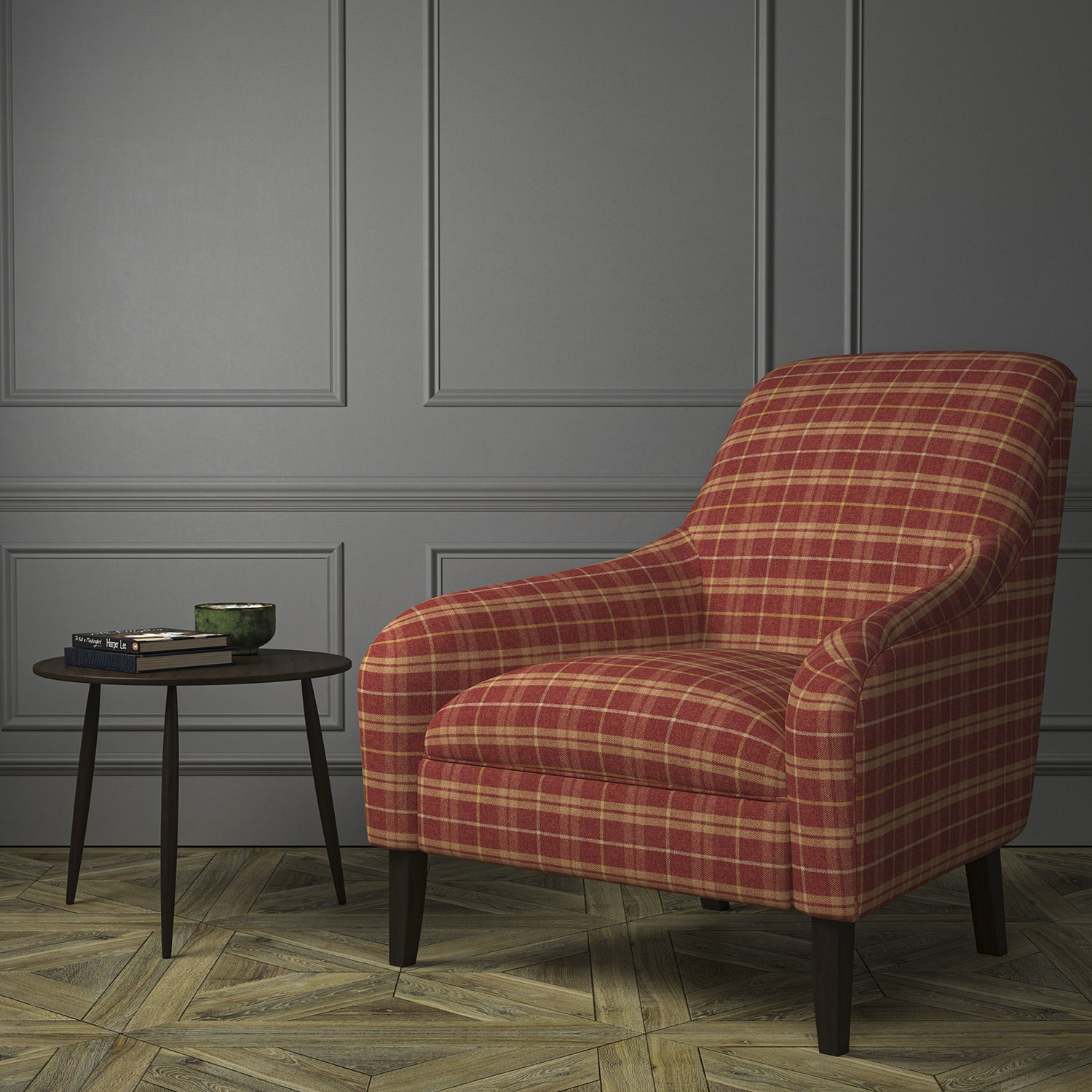 Chair upholstered in a red Scottish wool plaid check fabric