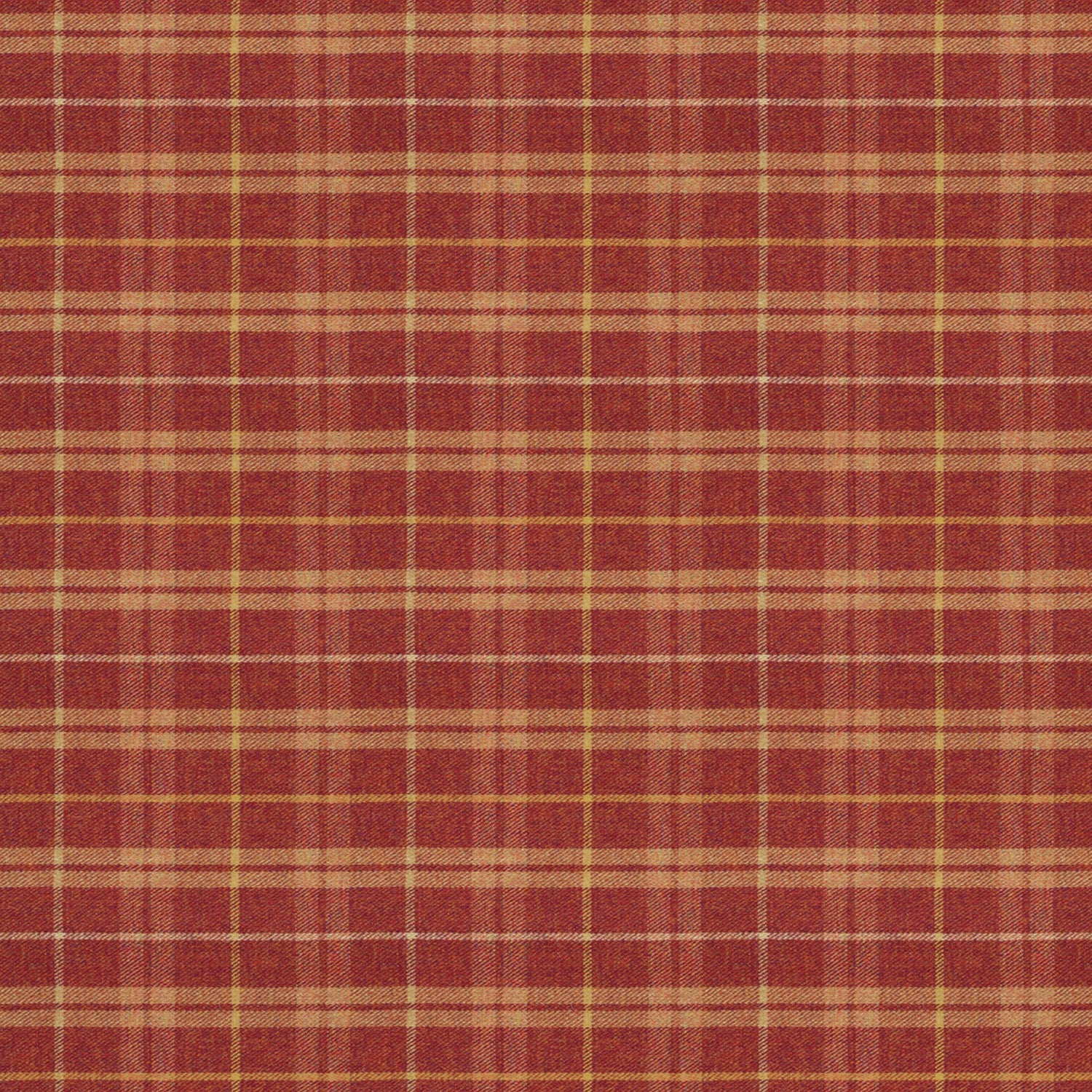 Fabric swatch of a red Scottish wool plaid check fabric for curtains and upholstery