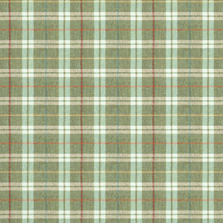 Fabric swatch of a green Scottish wool plaid check fabric for curtains and upholstery