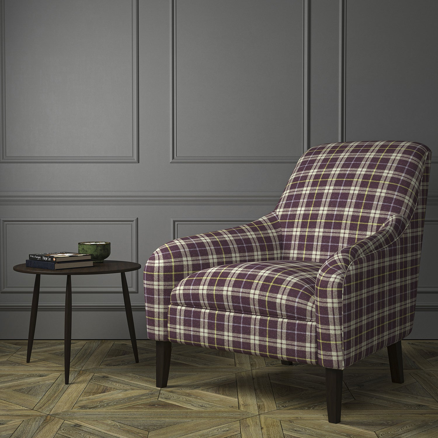 Chair upholstered in a purple Scottish wool plaid check fabric