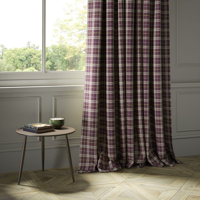 Curtains in a purple Scottish wool plaid check fabric