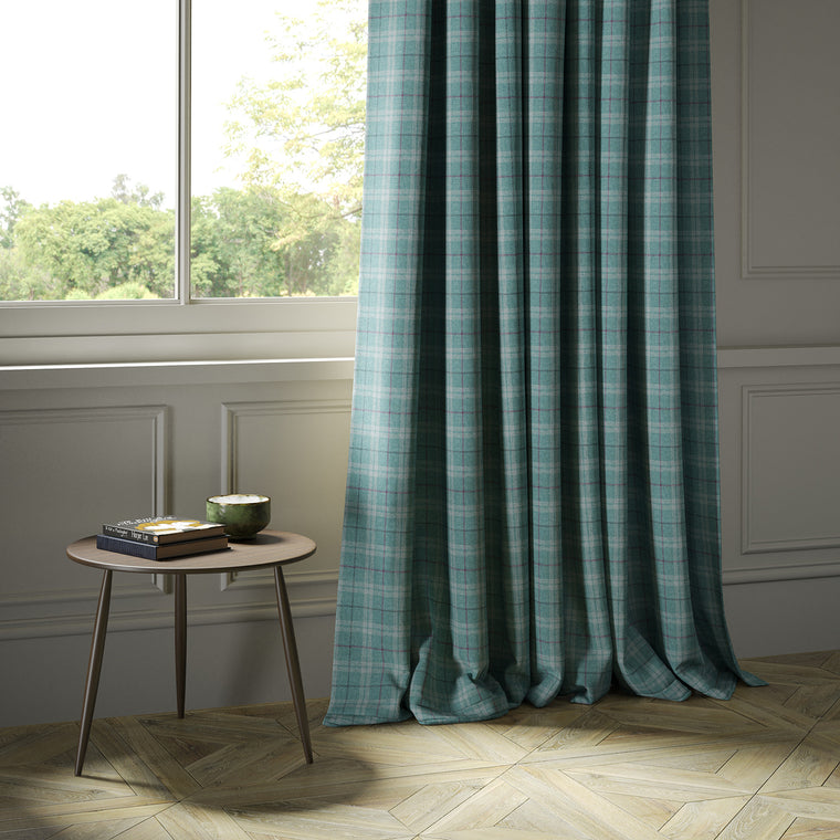 Curtains in a blue Scottish wool plaid check fabric