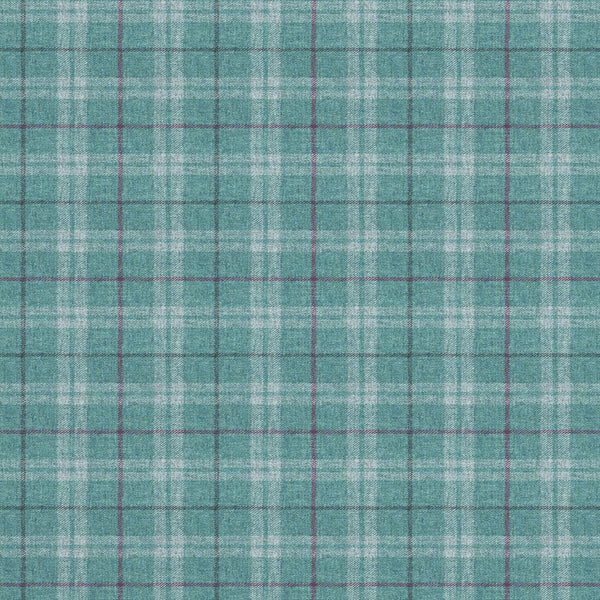 Fabric swatch of a blue Scottish wool plaid check fabric for curtains and upholstery