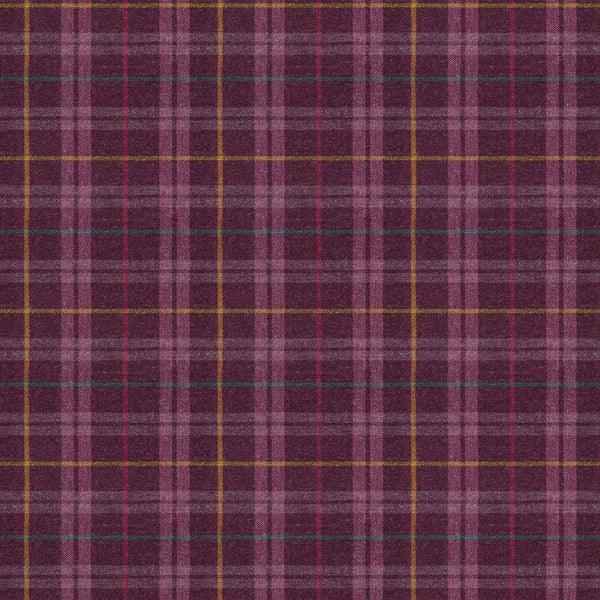 Fabric swatch of a purple Scottish wool plaid check fabric for curtains and upholstery