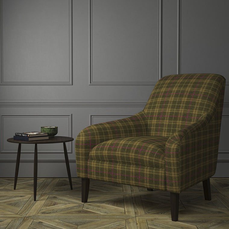 Chair upholstered in a brown Scottish wool plaid check fabric