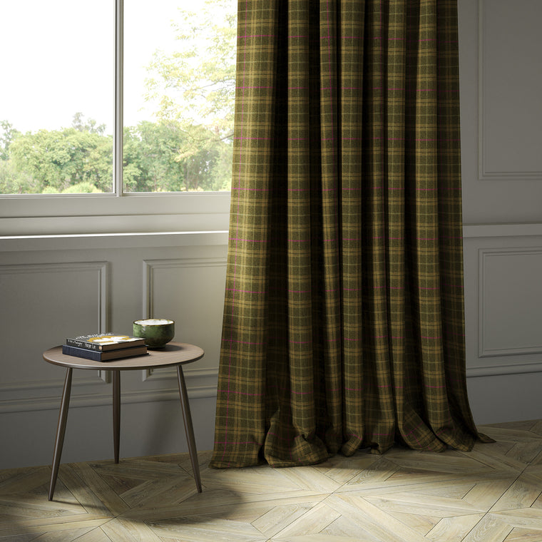 Curtains in a brown Scottish wool plaid check fabric