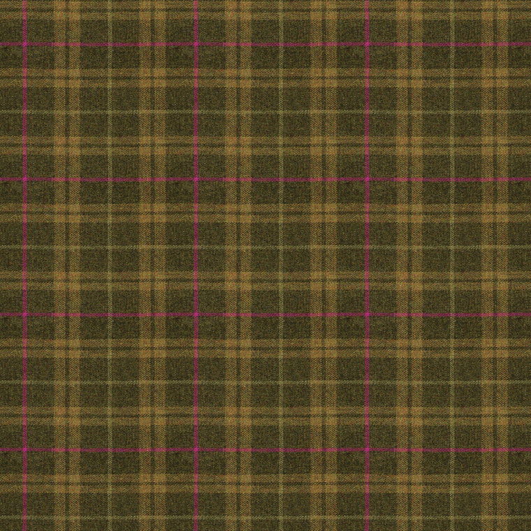 Fabric swatch of a brown Scottish wool plaid check fabric for curtains and upholstery