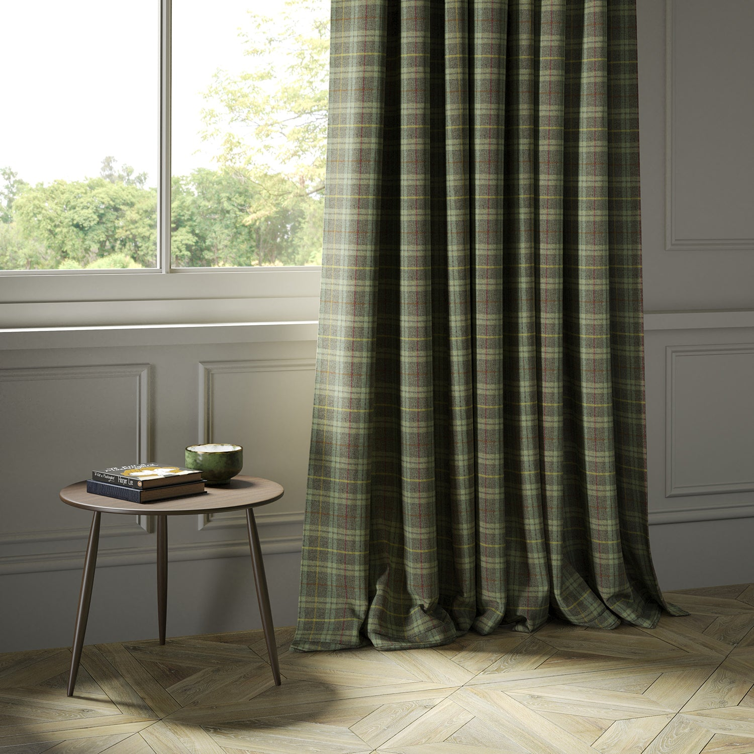 Curtains in a green Scottish wool plaid check fabric