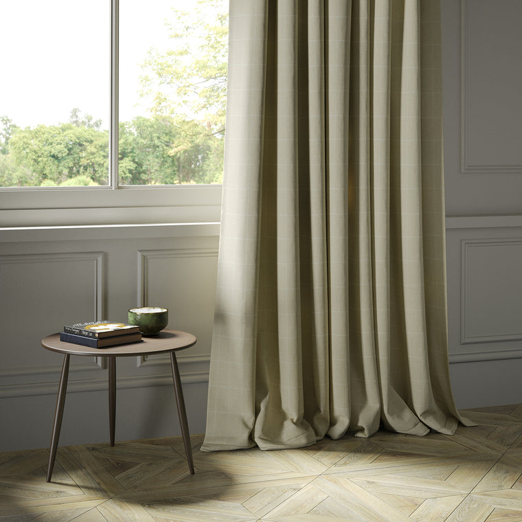 Curtains in a cream Scottish wool windowpane check fabric