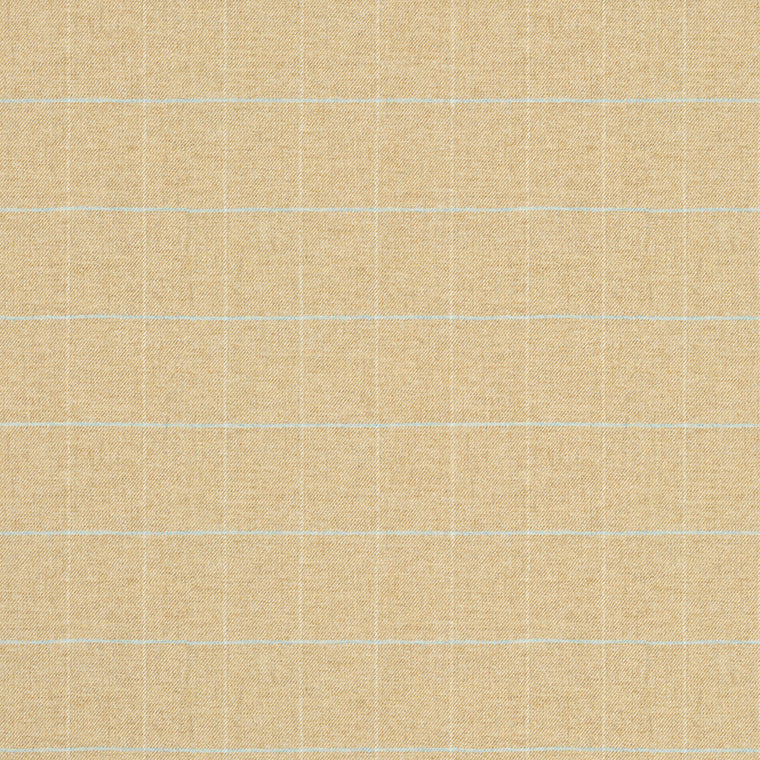 Fabric swatch of a cream Scottish wool windowpane check fabric for curtains and upholstery