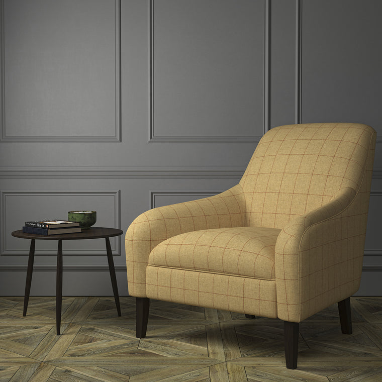 Chair upholstered in a beige Scottish wool windowpane check fabric