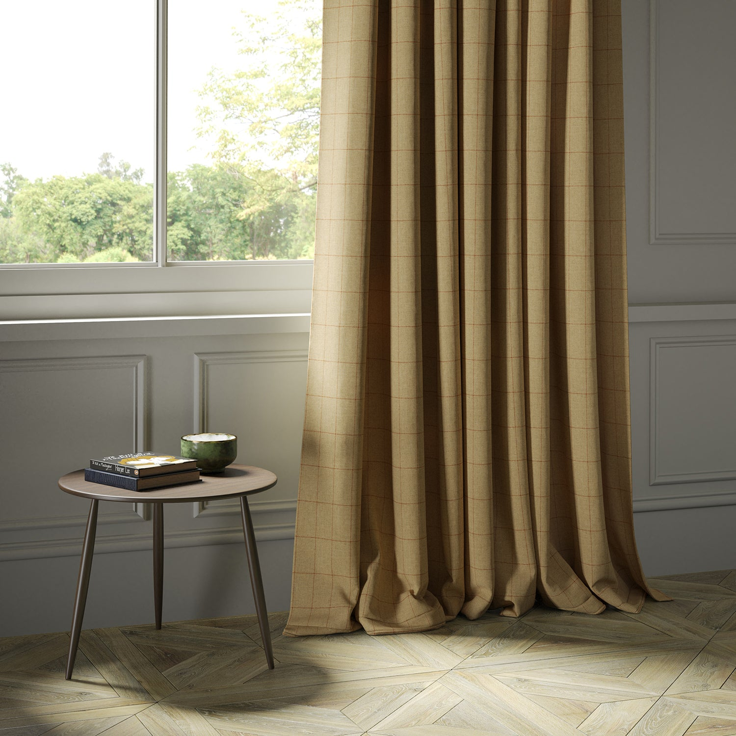 Curtains in a beige Scottish wool windowpane check fabric
