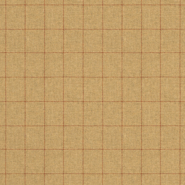 Fabric swatch of a beige Scottish wool windowpane check fabric for curtains and upholstery
