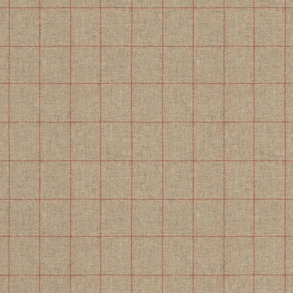 Fabric swatch of a taupe Scottish wool windowpane check fabric for curtains and upholstery