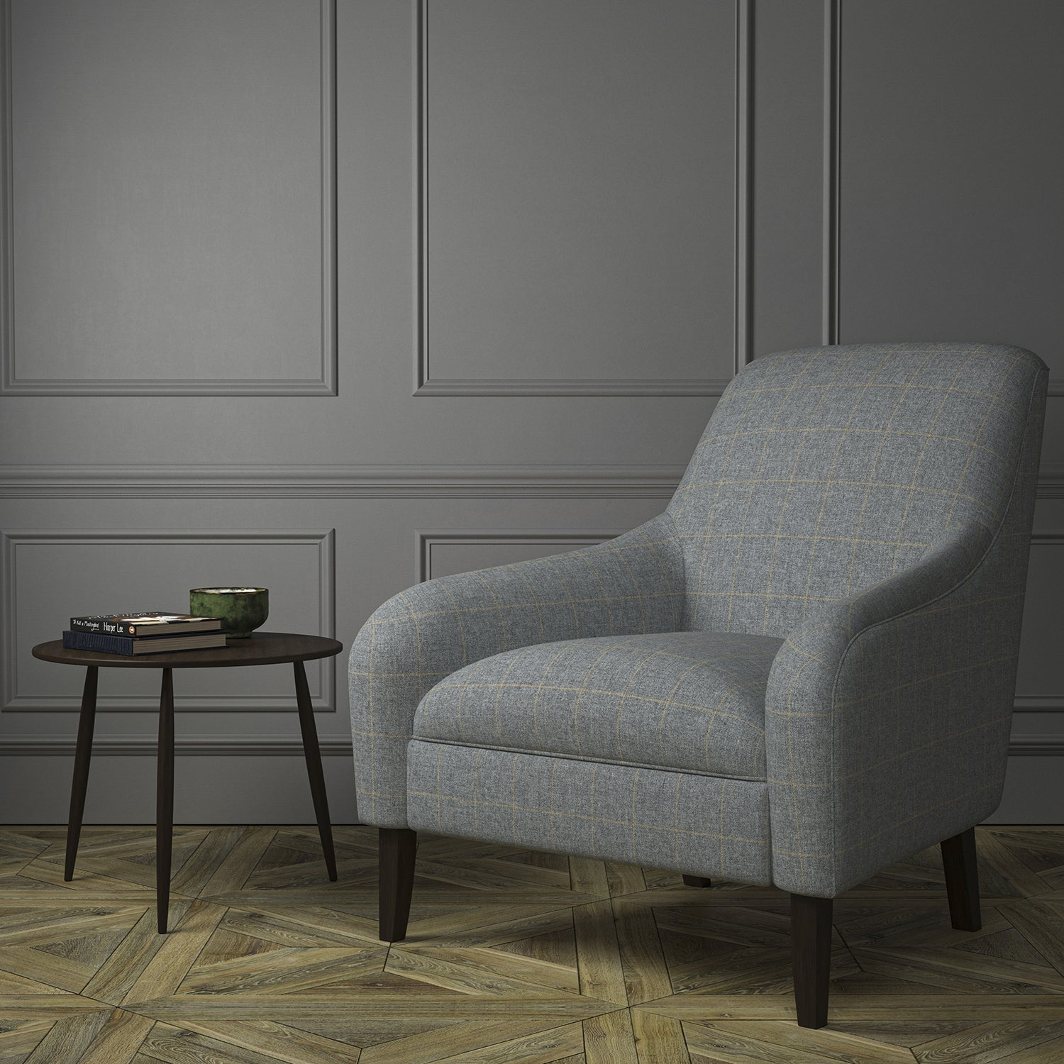 Chair upholstered in a grey Scottish wool windowpane check fabric