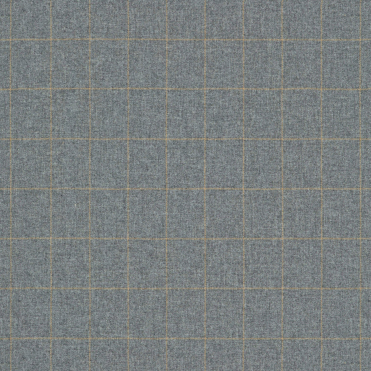 Fabric swatch of a grey Scottish wool windowpane check fabric for curtains and upholstery