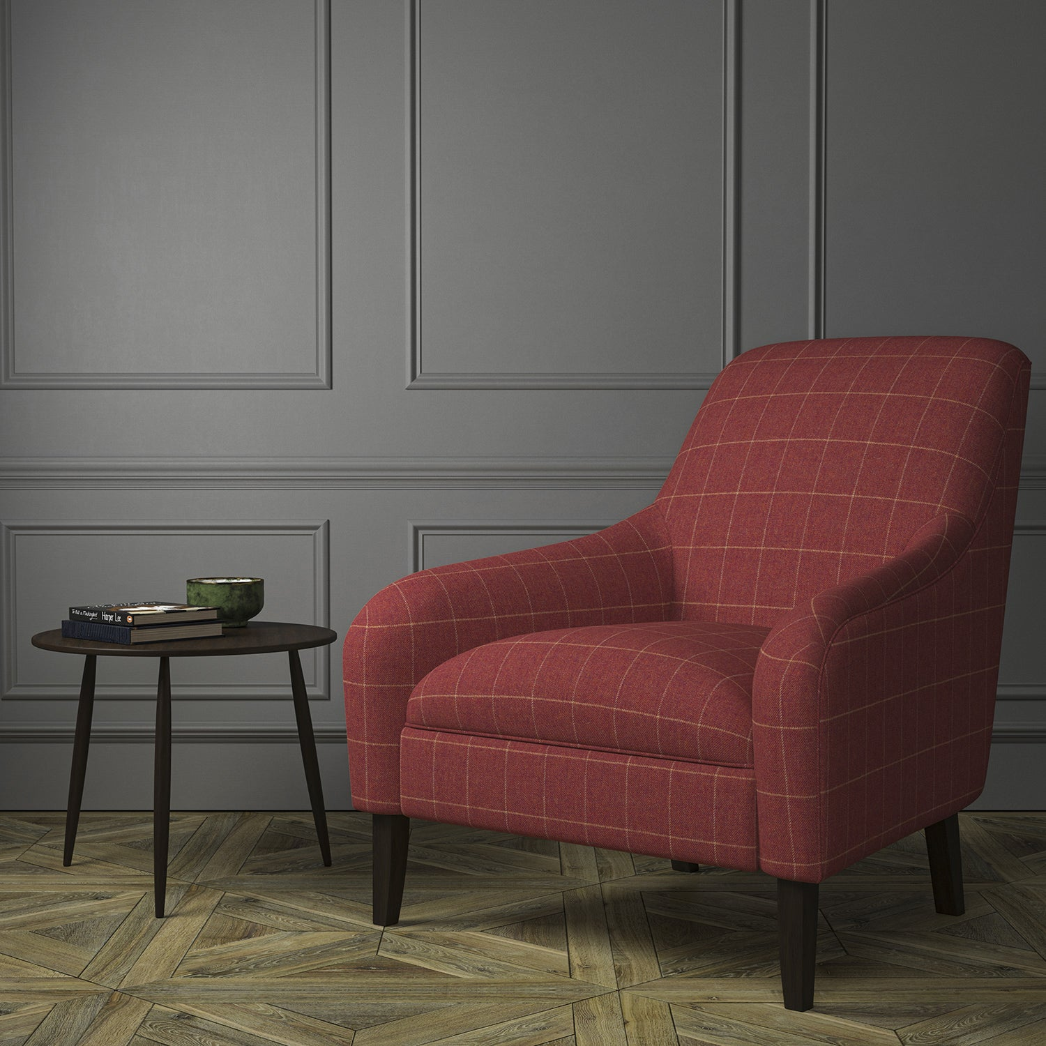 Chair upholstered in a red Scottish wool windowpane check fabric