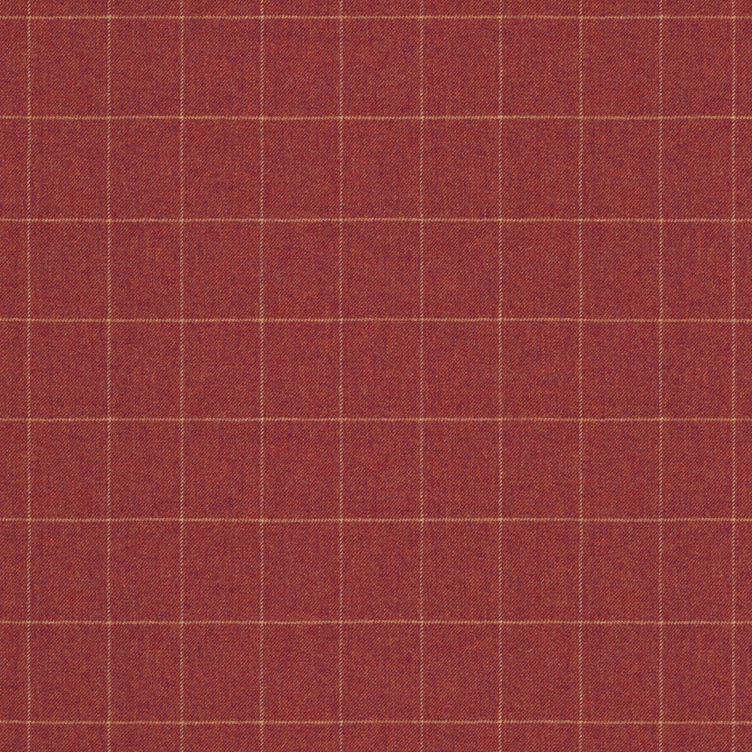 Fabric swatch of a red Scottish wool windowpane check fabric for curtains and upholstery