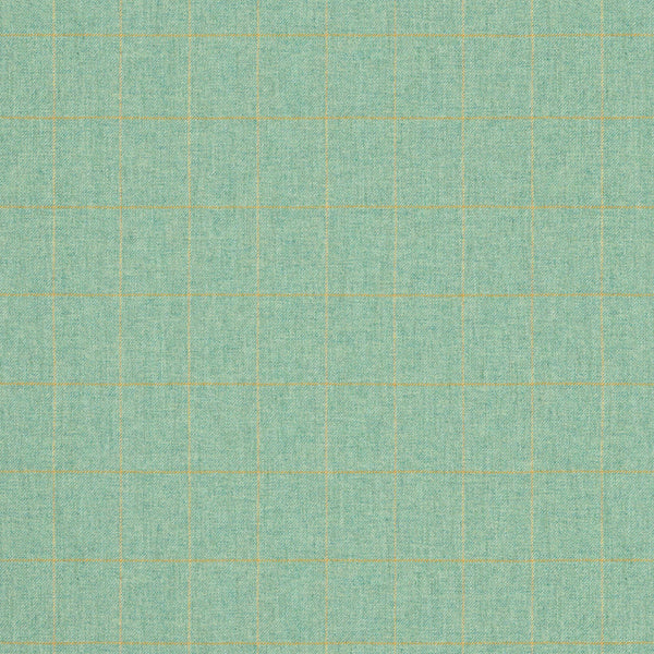 Fabric swatch of a turquoise Scottish wool windowpane check fabric for curtains and upholstery