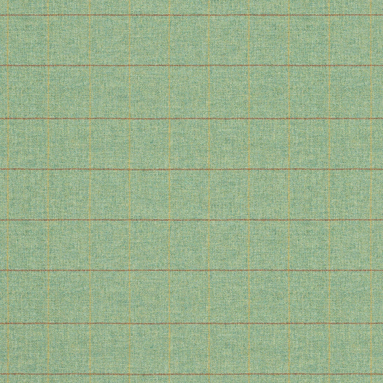 Fabric swatch of a green Scottish wool windowpane check fabric for curtains and upholstery