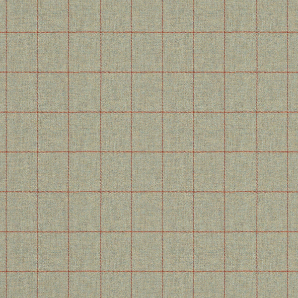 Fabric swatch of a light grey Scottish wool windowpane check fabric for curtains and upholstery