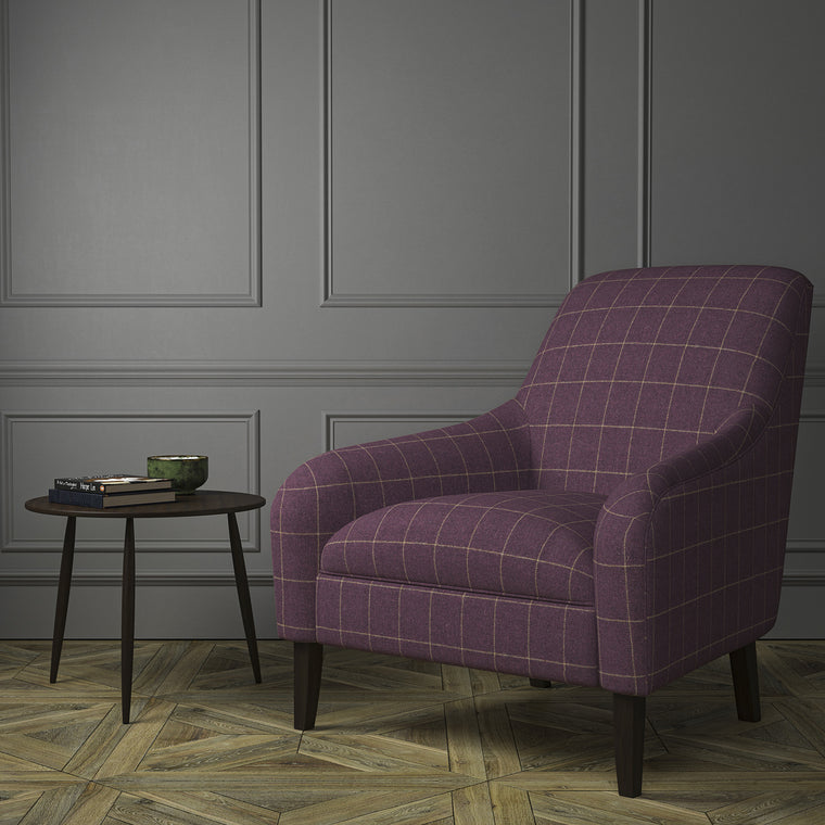 Chair upholstered in a purple Scottish wool windowpane check fabric