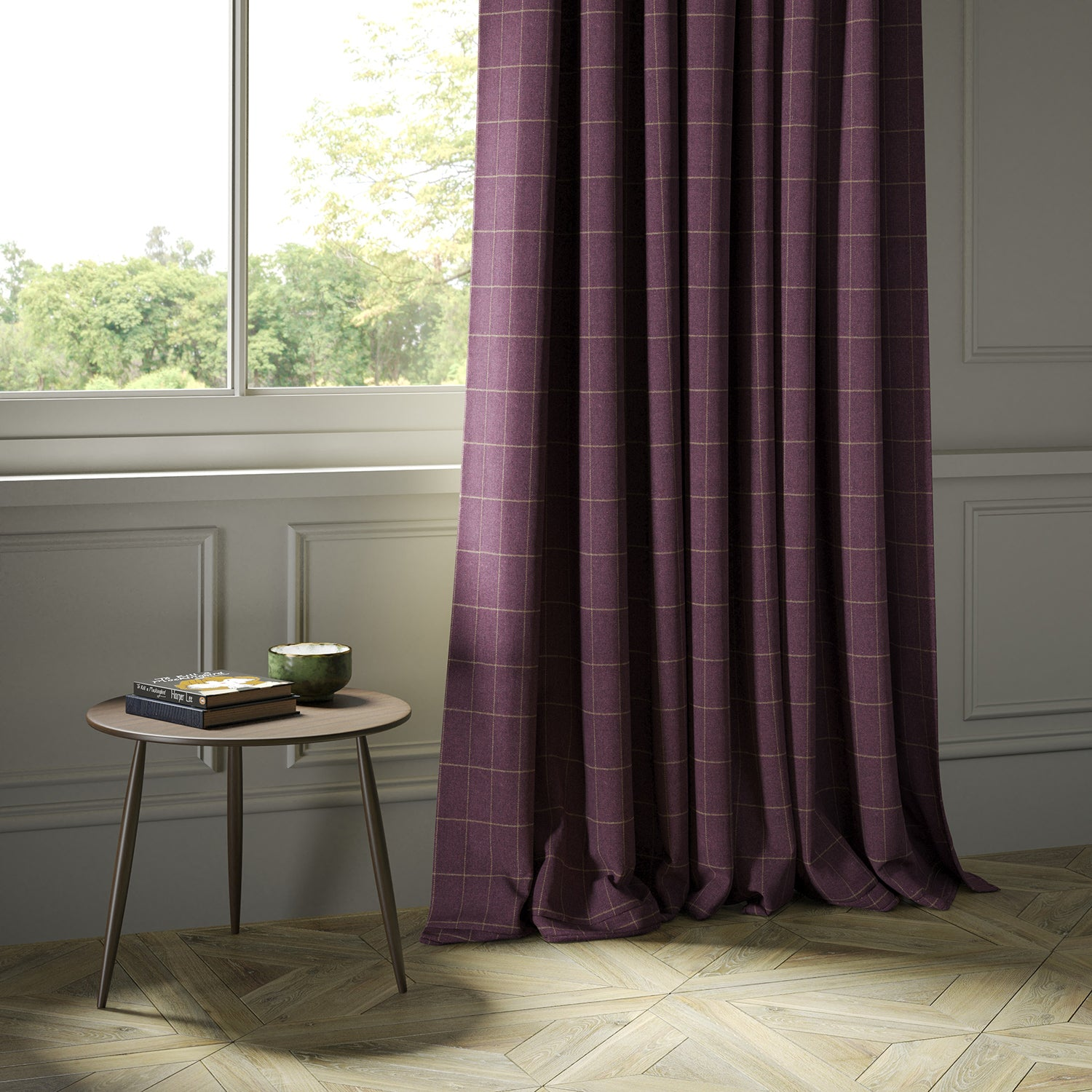 Curtains in a purple Scottish wool windowpane check fabric