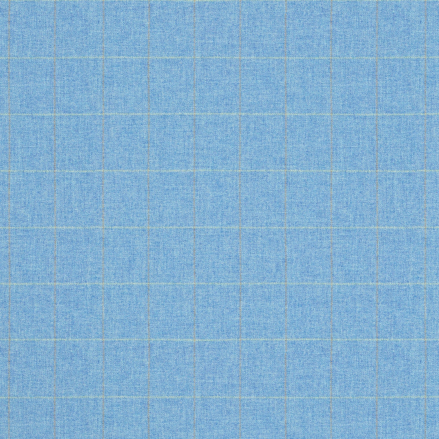 Fabric swatch of a blue Scottish wool windowpane check fabric for curtains and upholstery