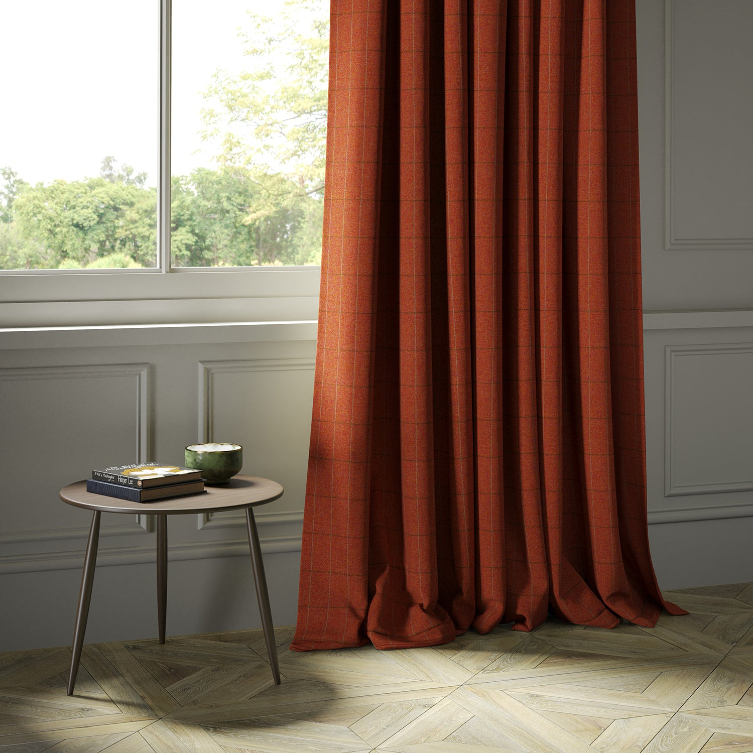 Curtains in a red Scottish wool windowpane check fabric
