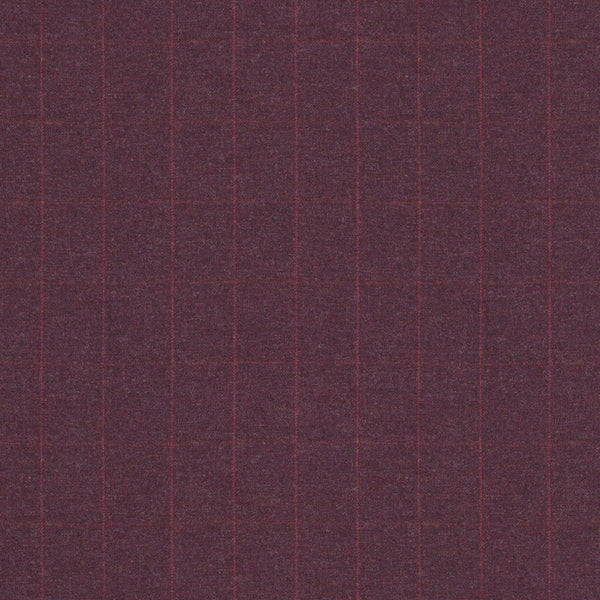 Fabric swatch of a purple Scottish wool windowpane check fabric for curtains and upholstery