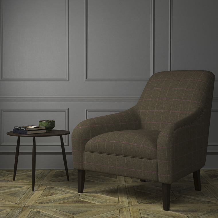 Chair upholstered in a brown Scottish wool windowpane check fabric