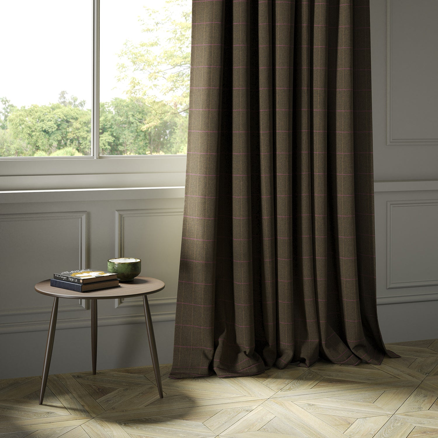 Curtains in a brown Scottish wool windowpane check fabric