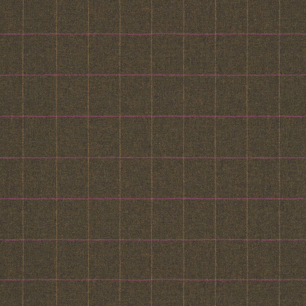 Fabric swatch of a brown Scottish wool windowpane check fabric for curtains and upholstery