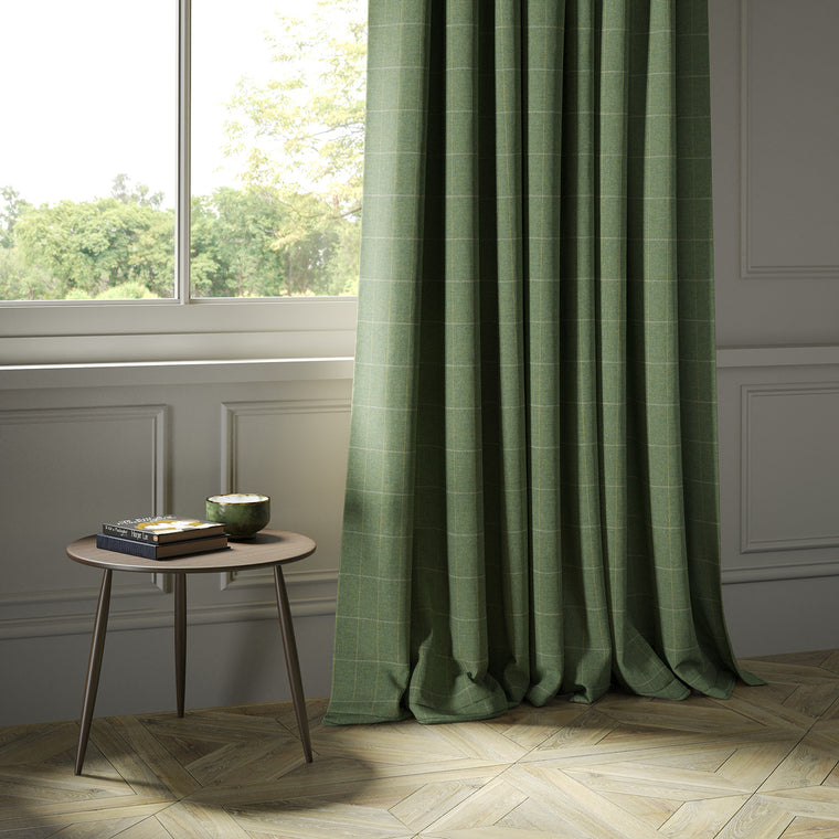 Curtains in a green Scottish wool windowpane check fabric