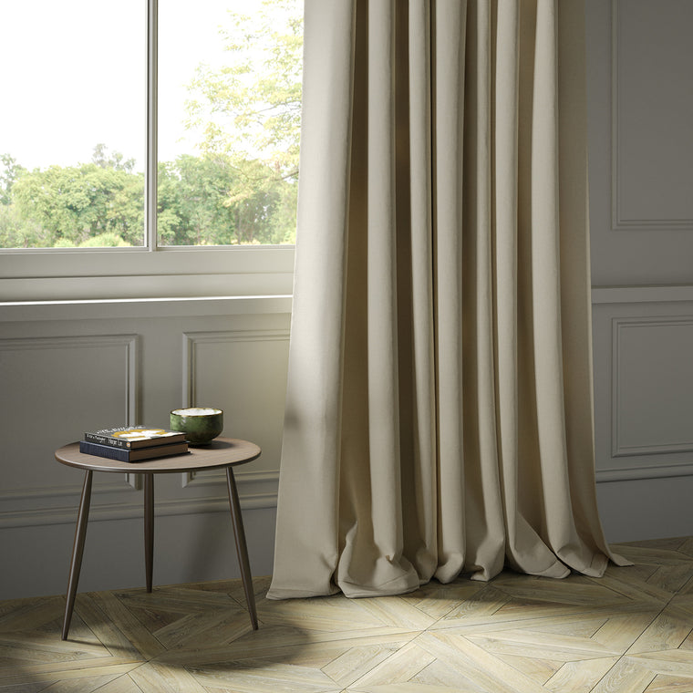 Curtains in a cream Scottish plain wool fabric