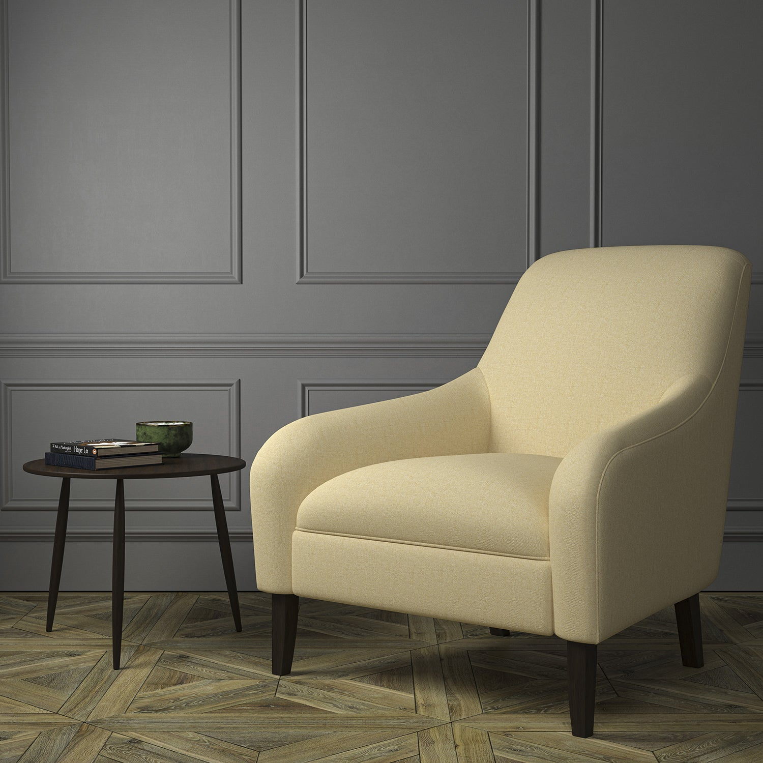 Chair upholstered in a luxury Scottish plain cream wool upholstery fabric