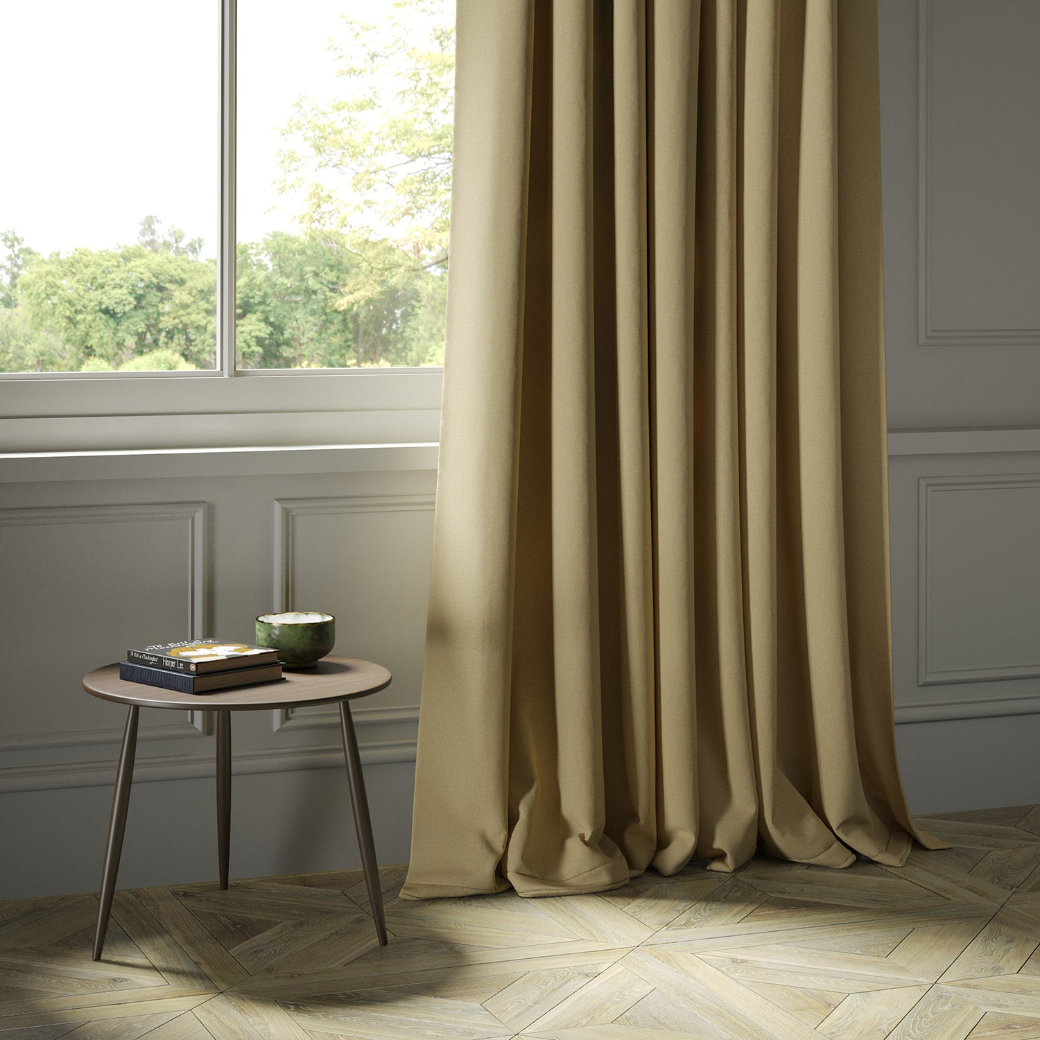 Curtains in a luxury Scottish plain golden coloured wool fabric