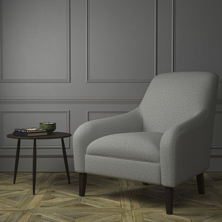 Chair upholstered in a luxury Scottish plain grey wool upholstery fabric