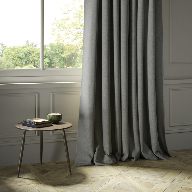 Curtains in a luxury Scottish plain grey wool fabric