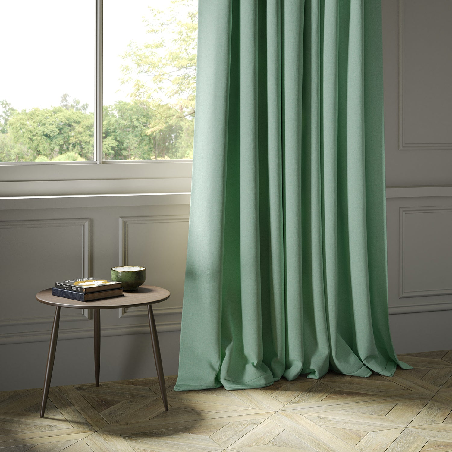 Curtains in a luxury Scottish plain aqua coloured wool fabric